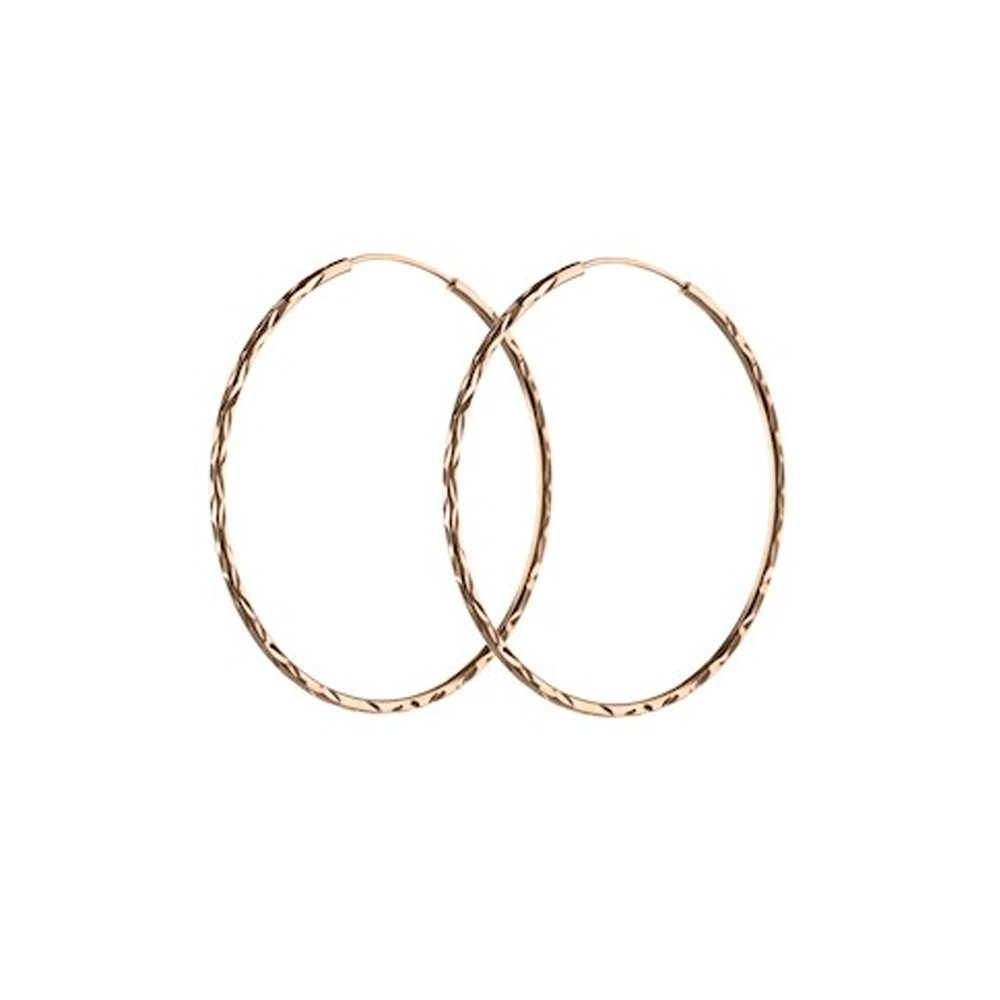 LARGE FACET CREOL HOOPS - ROSE GOLD