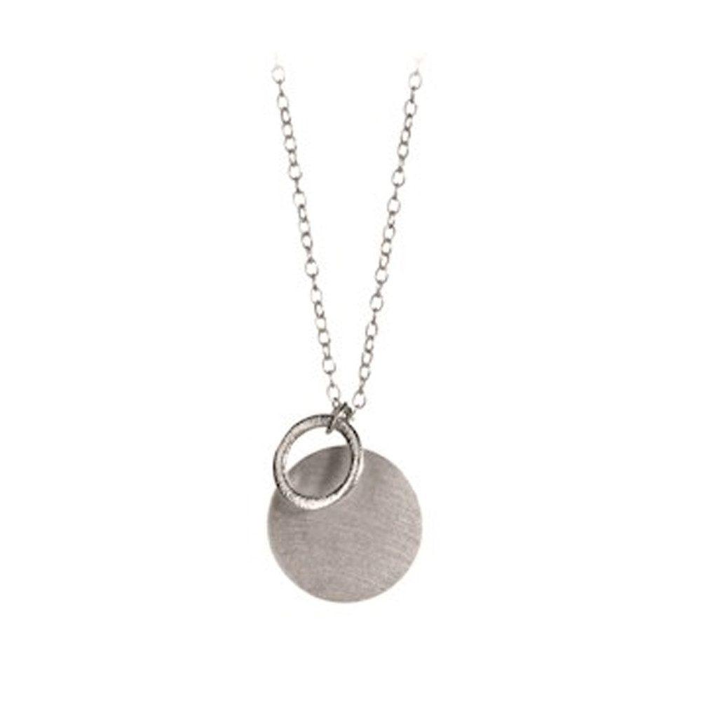 Coin & Circle Necklace - Silver
