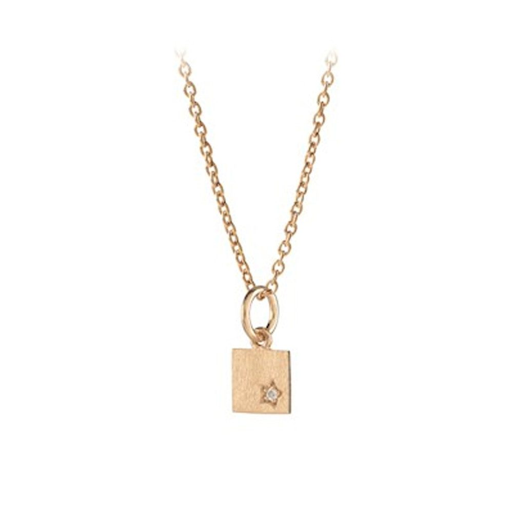 Diamond Square Necklace - Gold