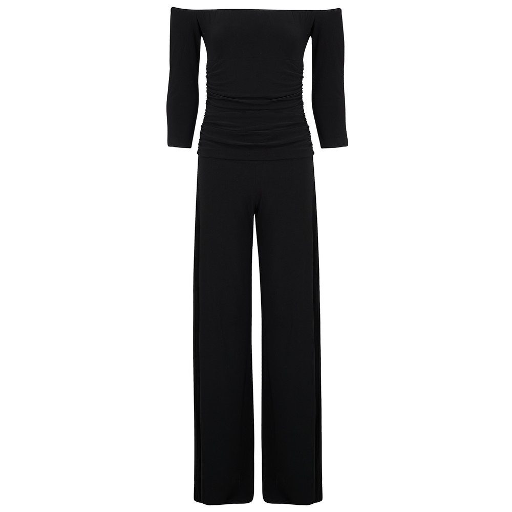 Off Shoulder Shirred Jumpsuit - Black