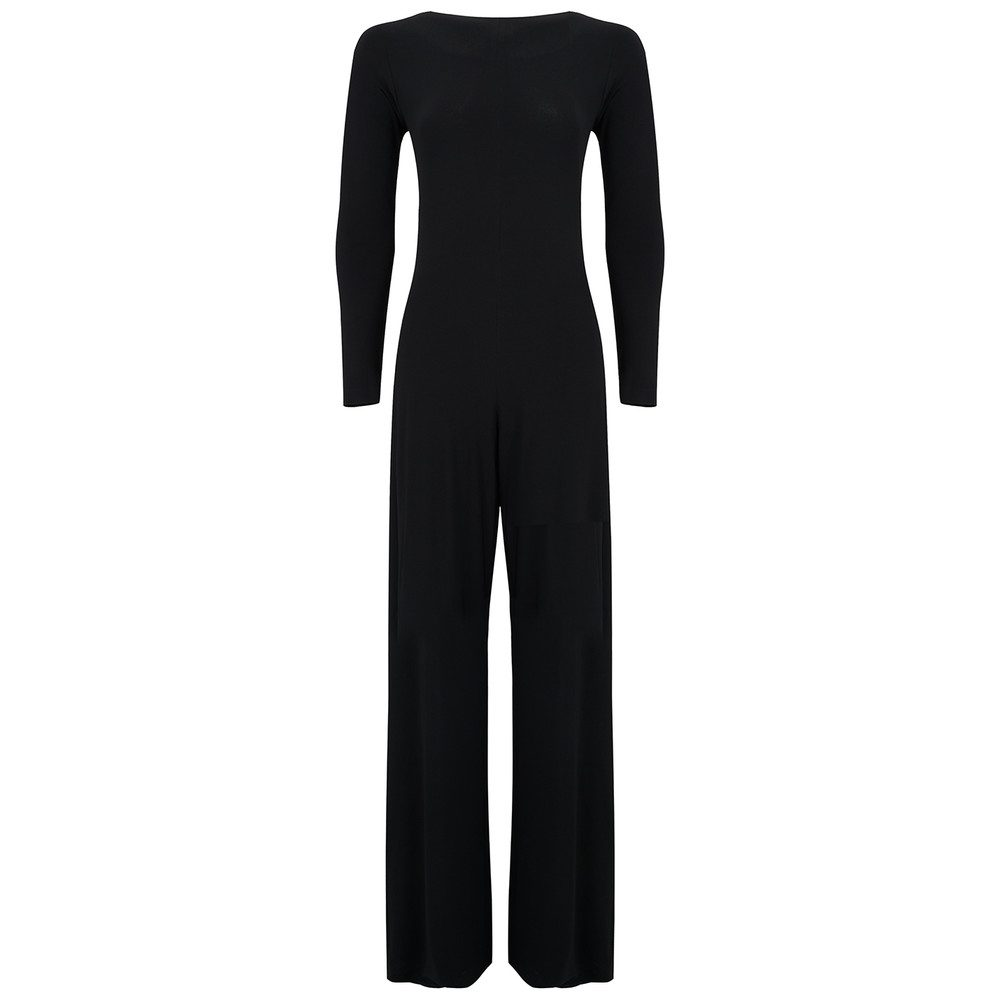 Long Sleeved Draped Back Jumpsuit - Black