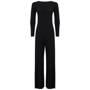 Long Sleeved Draped Back Jumpsuit - Black