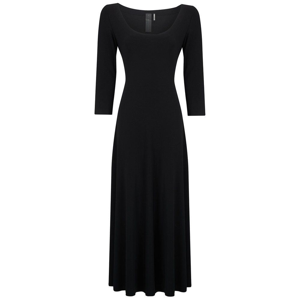 Long Sleeve Reversible Scoop Neck Dress - Black