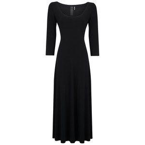 Long Sleeve Reversible Scoop Neck Dress - Black
