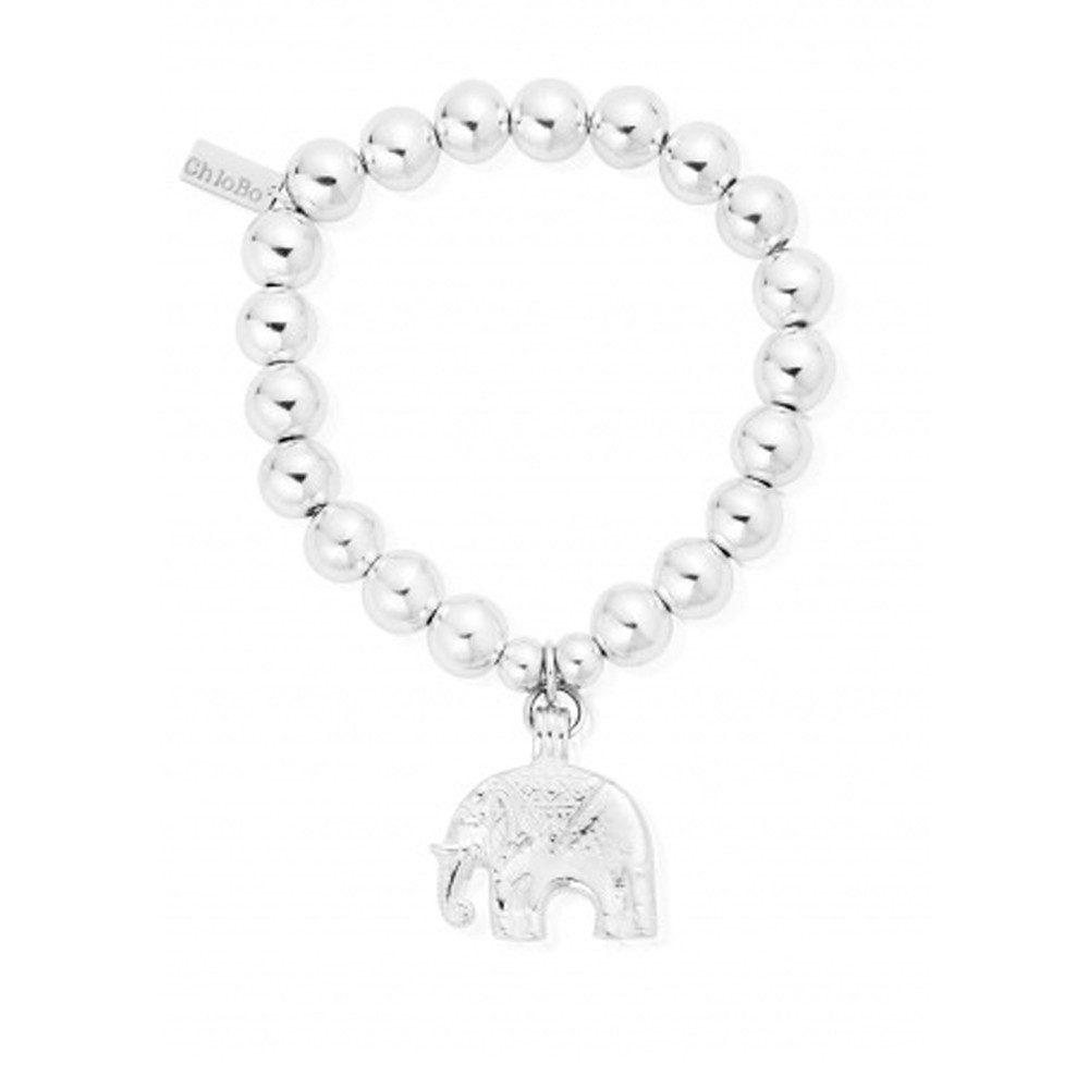 Medium Ball Bracelet With Elephant Charm - Silver