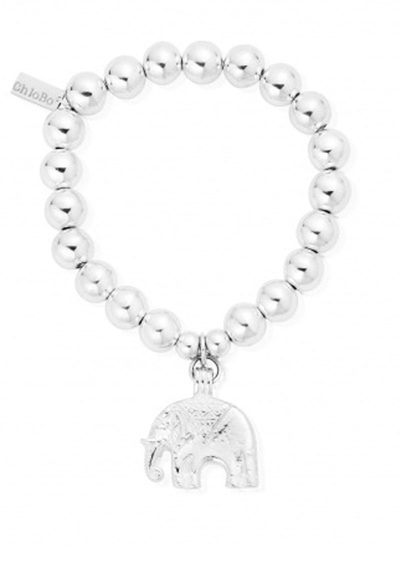 Medium Ball Bracelet With Elephant Charm - Silver main image