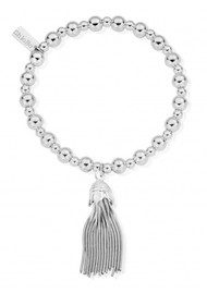 ChloBo Mini Small Ball Tassel Bracelet - Silver