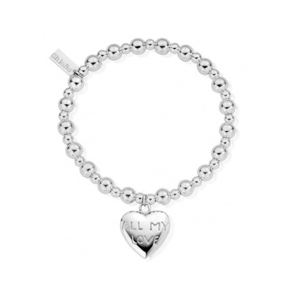 Mini Small Ball Bracelet with All My Love Charm - Silver