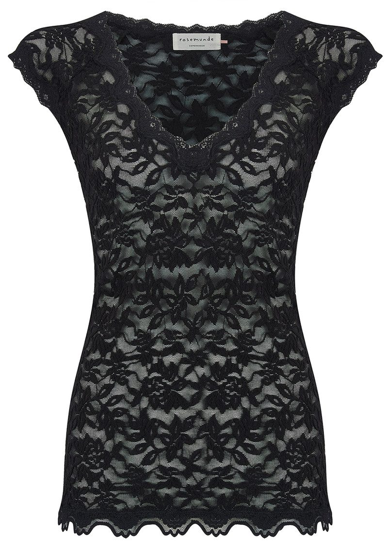 Rosemunde Delicia Short Sleeve Lace Top - Black main image