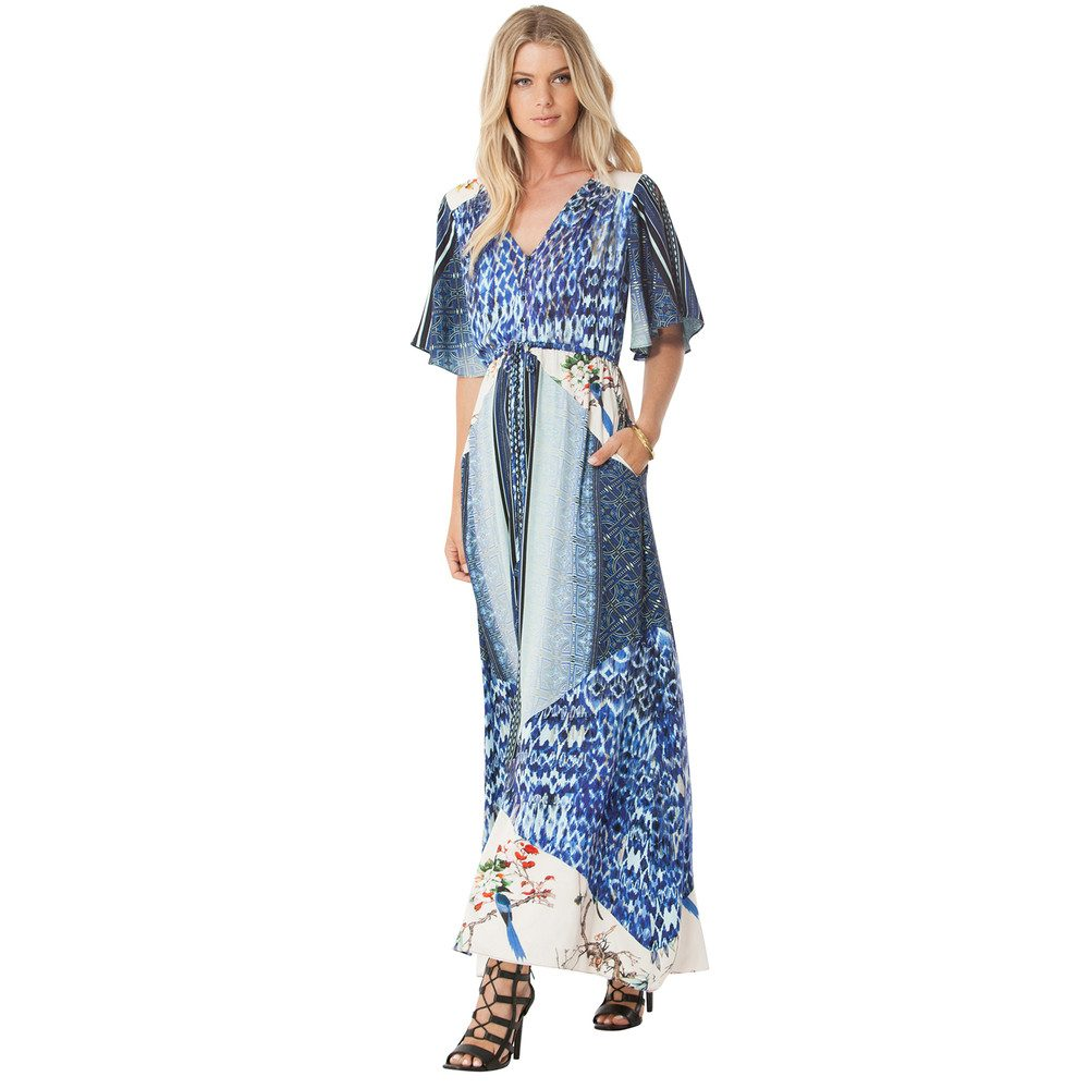 Aria Printed Maxi Dress - Blue