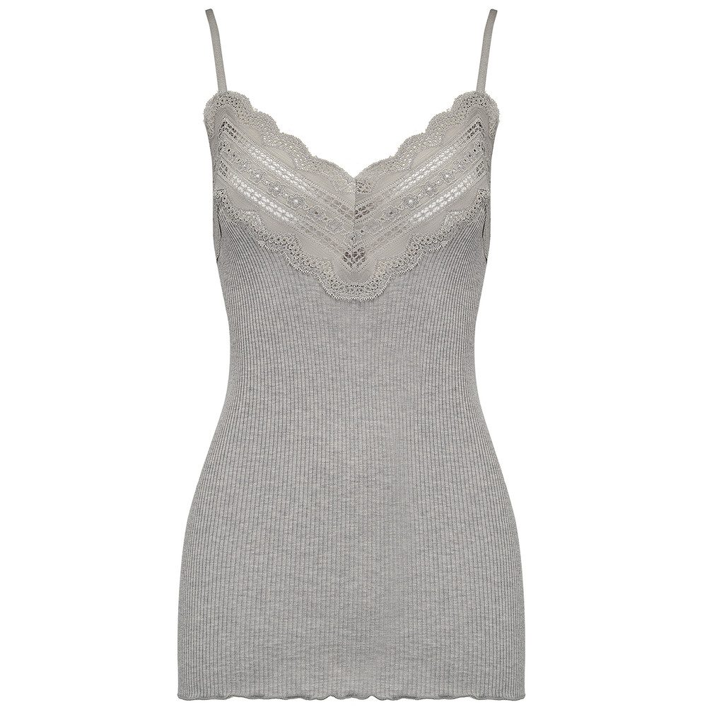 Wide Lace Strap Top - Light Grey Melange