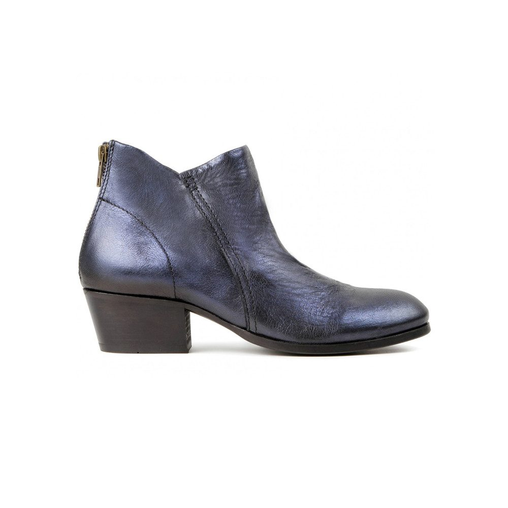 Apsi Metallic Leather Boots - Navy