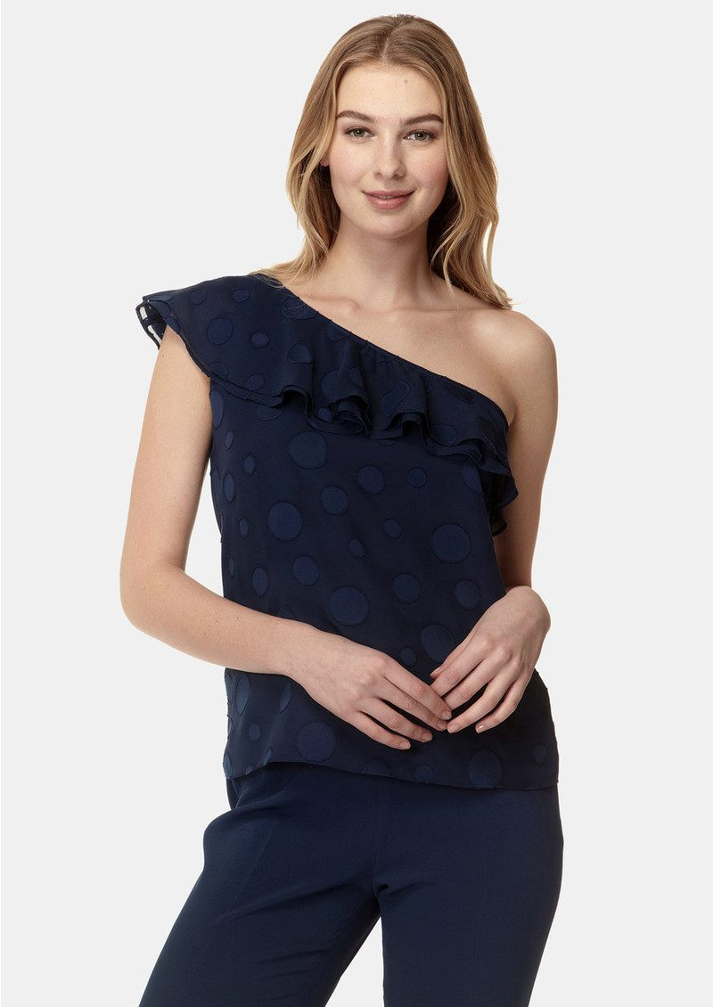 COOPER AND ELLA Leah One Shoulder Top - Navy main image