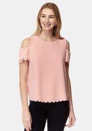 COOPER AND ELLA Mila Scallop Top - Salmon