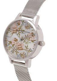 Olivia Burton Midi Parlour Peony Floral Mesh Watch - Silver