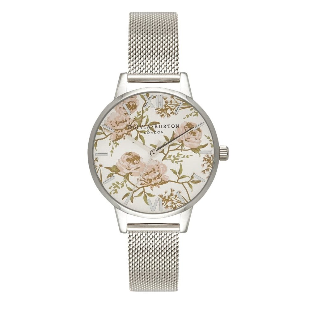 Midi Parlour Peony Floral Mesh Watch - Silver