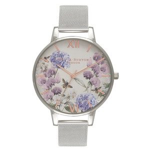 Parlour Bee Blooms Mesh Watch - Silver