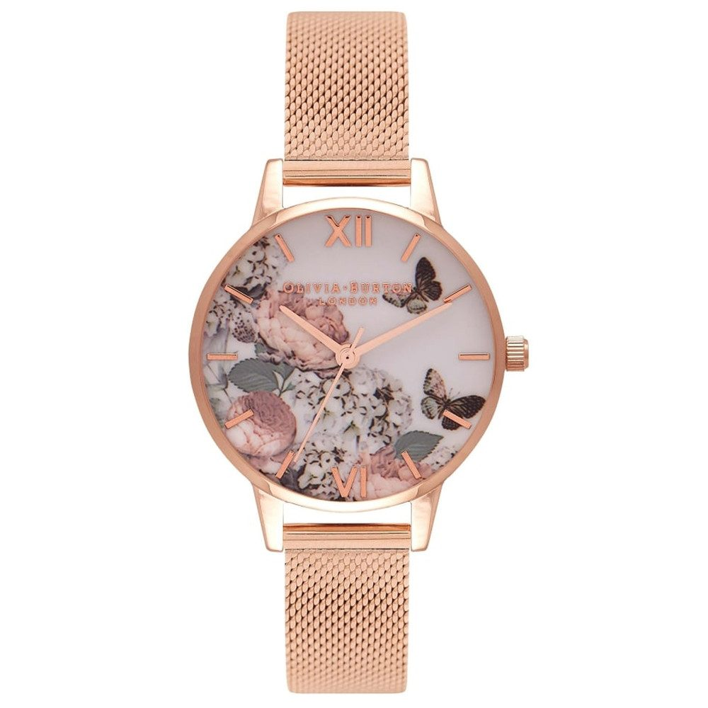 Midi Enchanted Garden Mesh Watch - Rose Gold