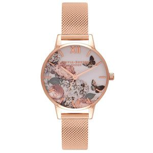 Midi Enchanted Garden Mesh Watch - Rose Gold