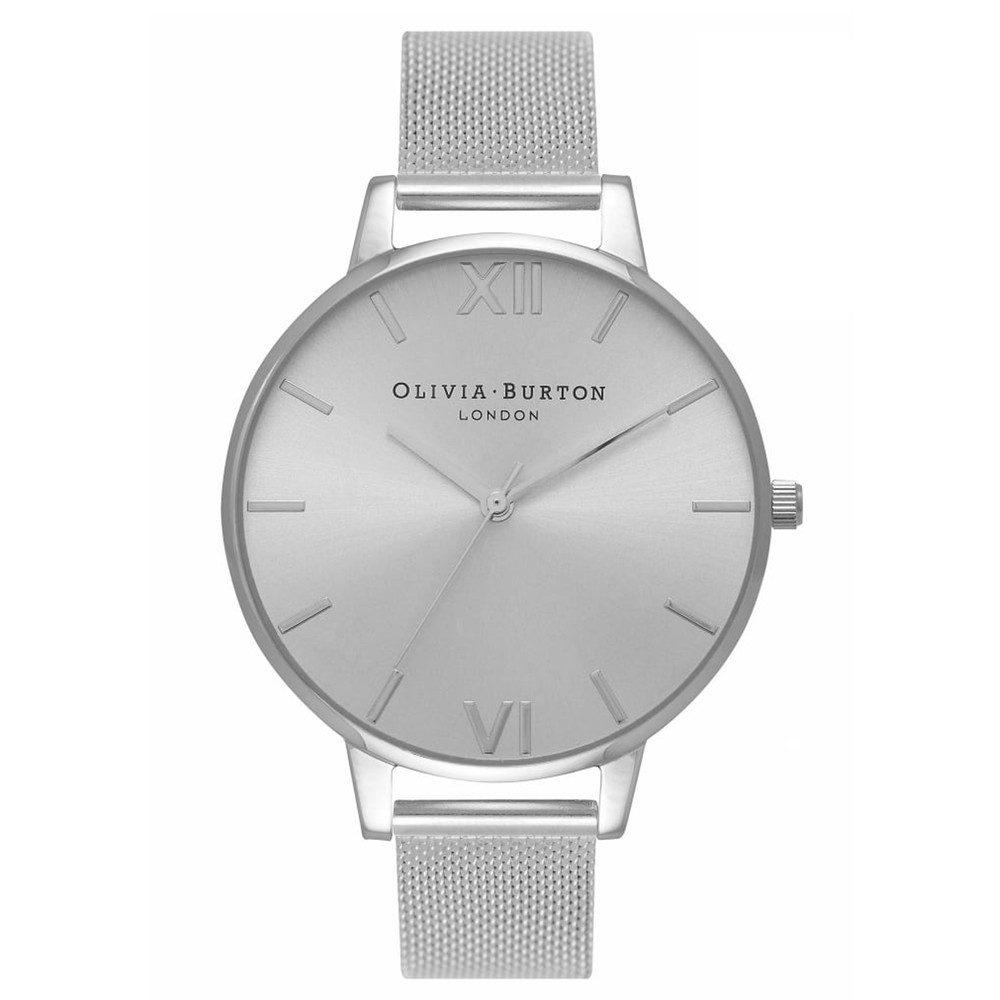 Big Dial Sunray Mesh Watch - Silver
