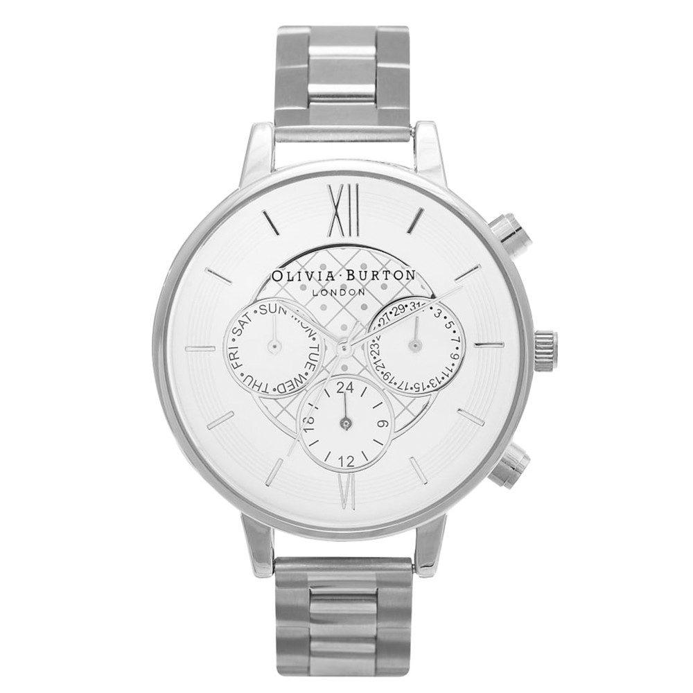 Chrono Detail Dot Design Bracelet Watch - Silver