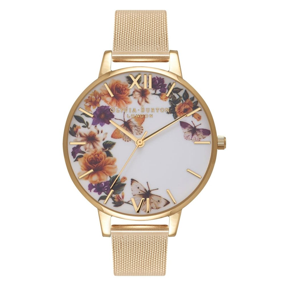 Enchanted Garden Butterfly Mesh Watch - Gold