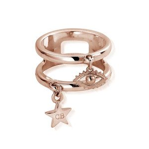 Double Band Evil Eye Ring - Rose Gold