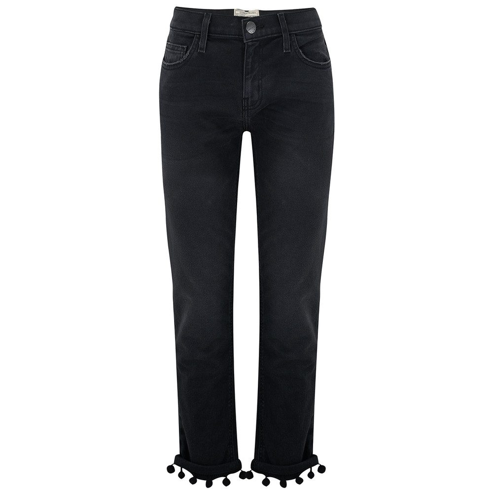 The Cropped Straight Pom Pom Jeans - Worn Black