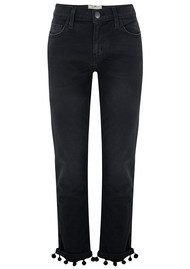 Current/Elliott The Cropped Straight Pom Pom Jeans - Worn Black