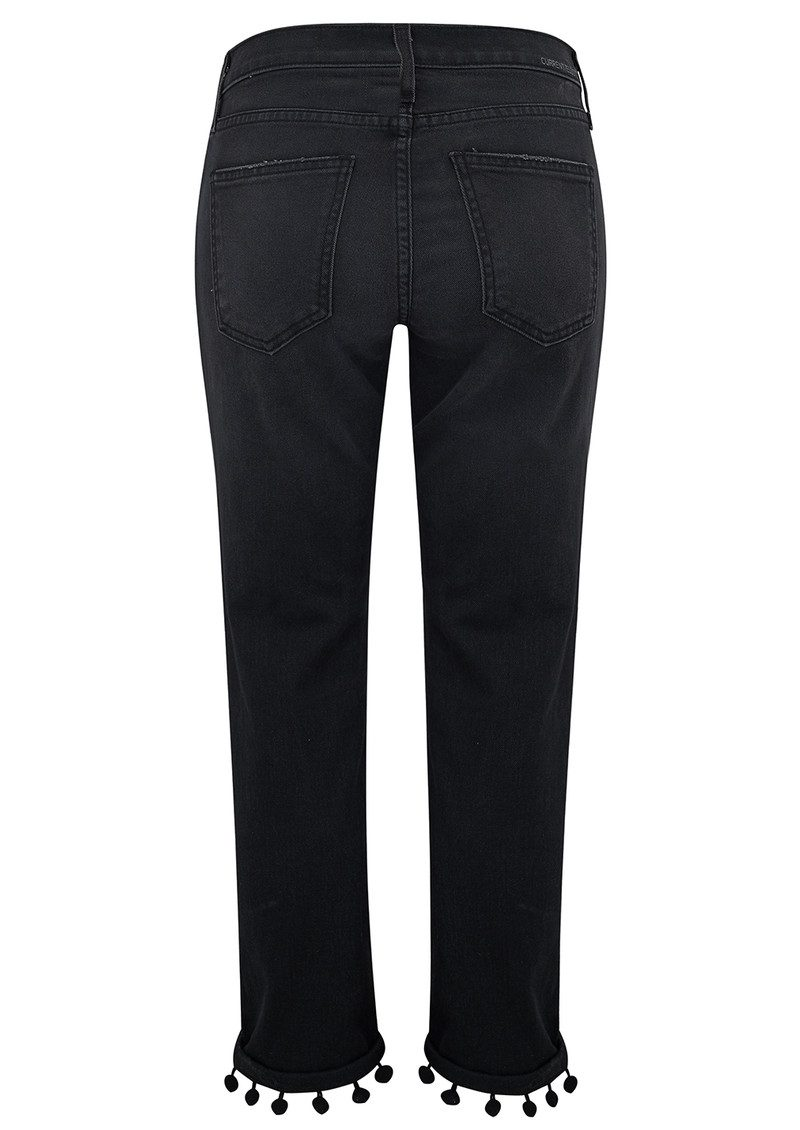 Current/Elliott The Cropped Straight Pom Pom Jeans - Worn Black main image
