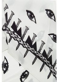 ROCKINS Eyes Classic Skinny Silk Scarf - Ivory