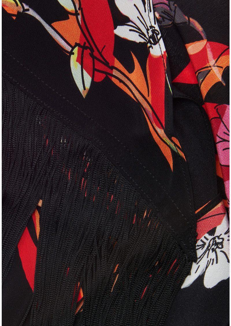 ROCKINS Flowers 'n' Flames Classic Skinny Fringed Scarf - Black main image