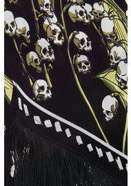 ROCKINS Skullflower Classic Skinny Fringed Scarf - Black