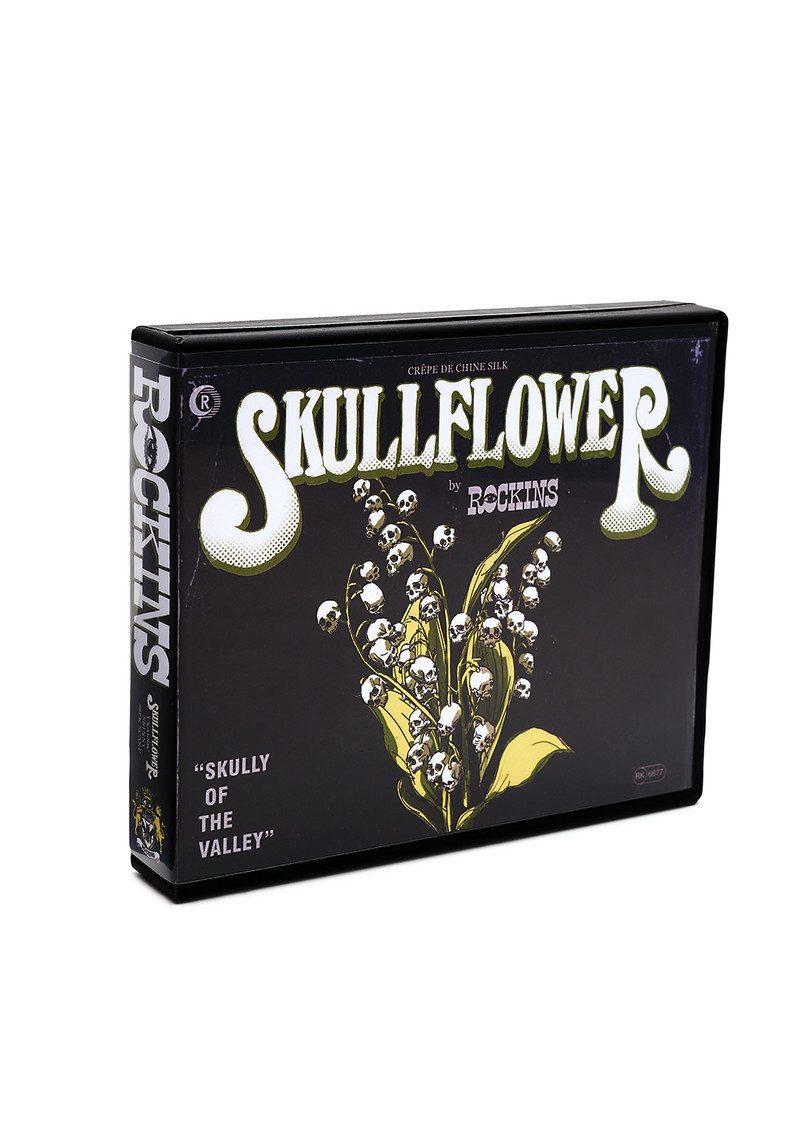 ROCKINS Skullflower Classic Skinny Fringed Scarf - Black main image