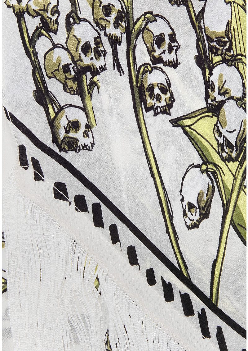 ROCKINS Skullflower Classic Skinny Fringed Scarf - Ivory main image