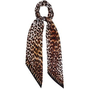 Leopard's Teeth Classic Skinny Silk Scarf - Gold