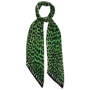 Leopard's Teeth Classic Skinny Silk Scarf - Green