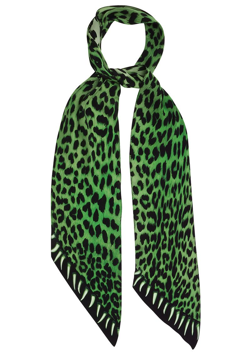 ROCKINS Leopard's Teeth Classic Skinny Silk Scarf - Green main image