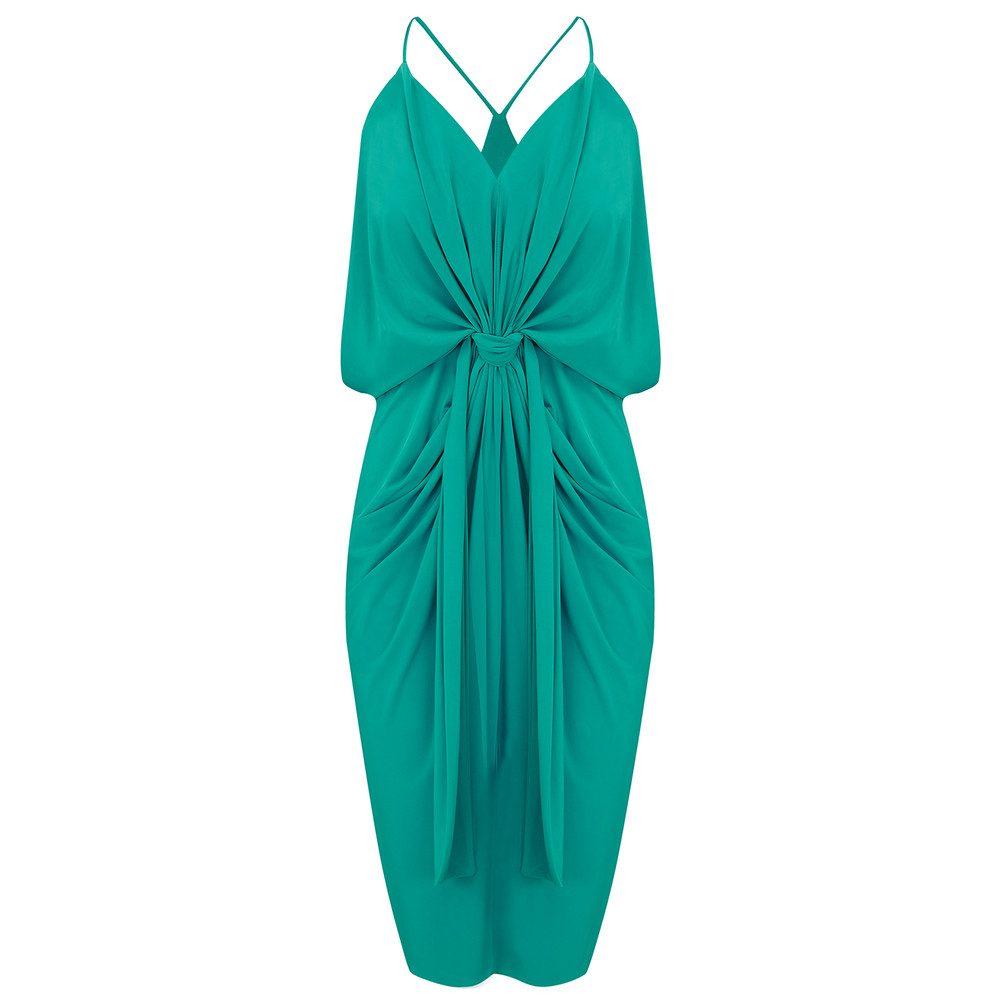 Domino Spaghetti Strap Dress - Jade