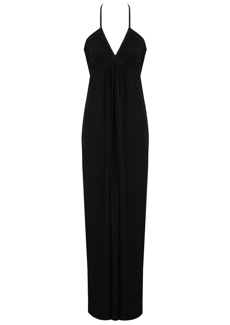 MISA Los Angeles Deep V Ruched Halter Neck Maxi Dress - Black main image
