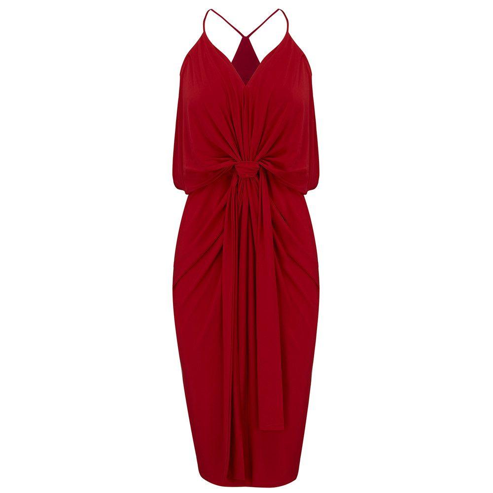 Domino Spaghetti Strap Dress - Red