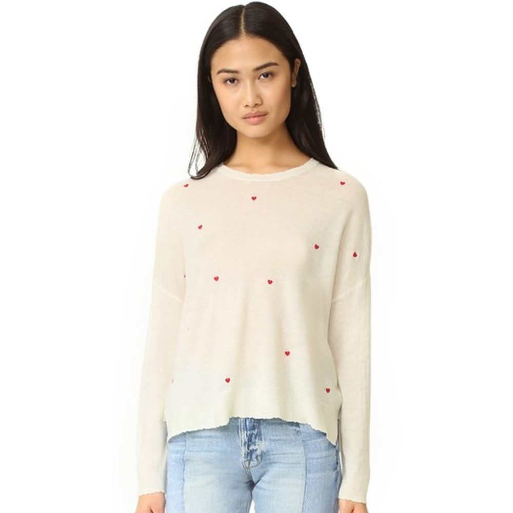 Cashmere Mix Crew Jumper - Little Hearts