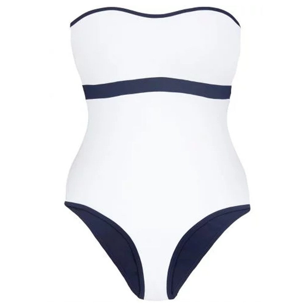 Reversible Bandeau One Piece - White & Navy