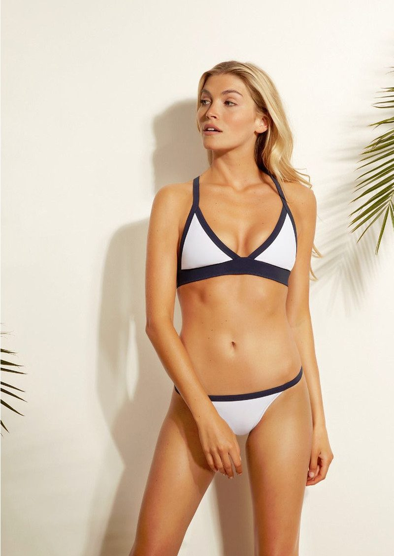HEIDI KLEIN Reversible Binding String Bikini Bottoms - White & Navy main image