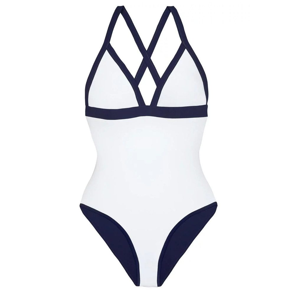 Reversible Triangle One Piece - White & Navy