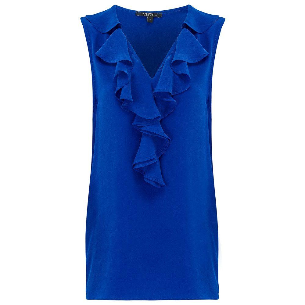 Ruffle Neck Silk Top - Blue Cobalt