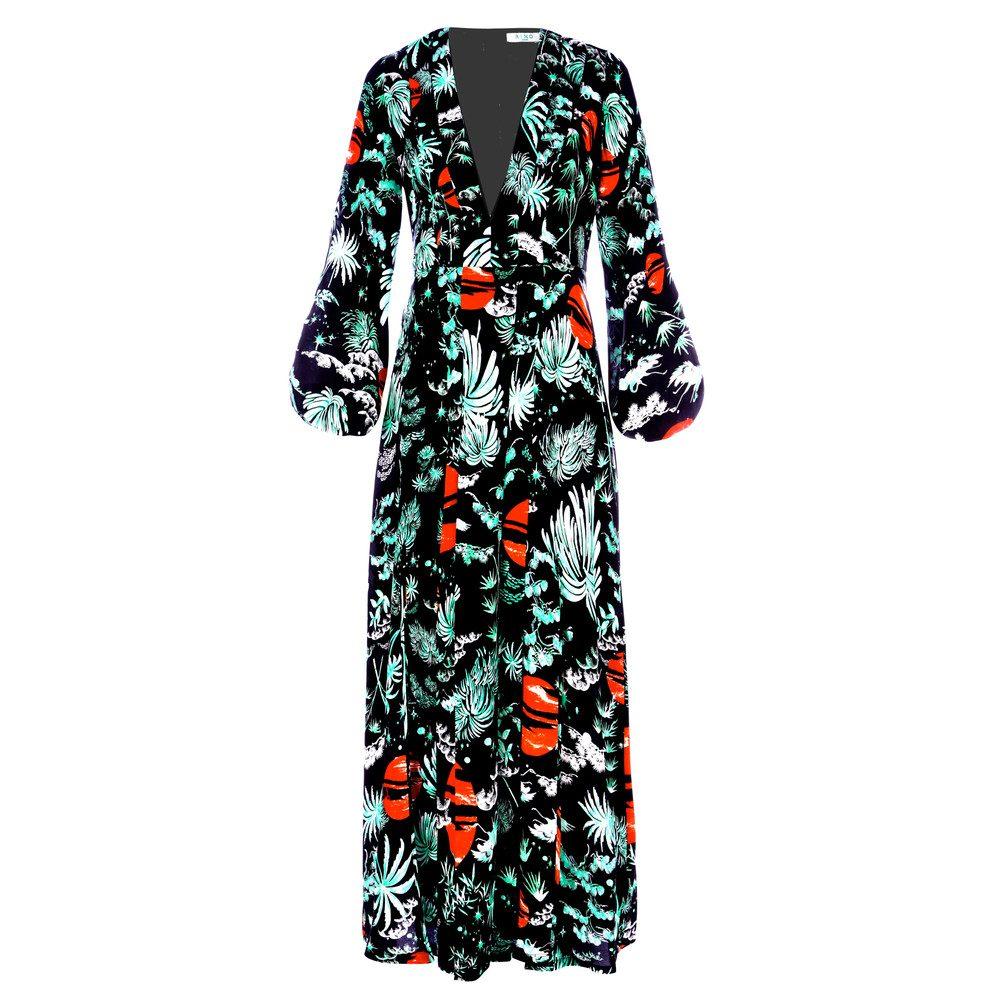 PRE ORDER Camellia Dress - Green Oriental Sky