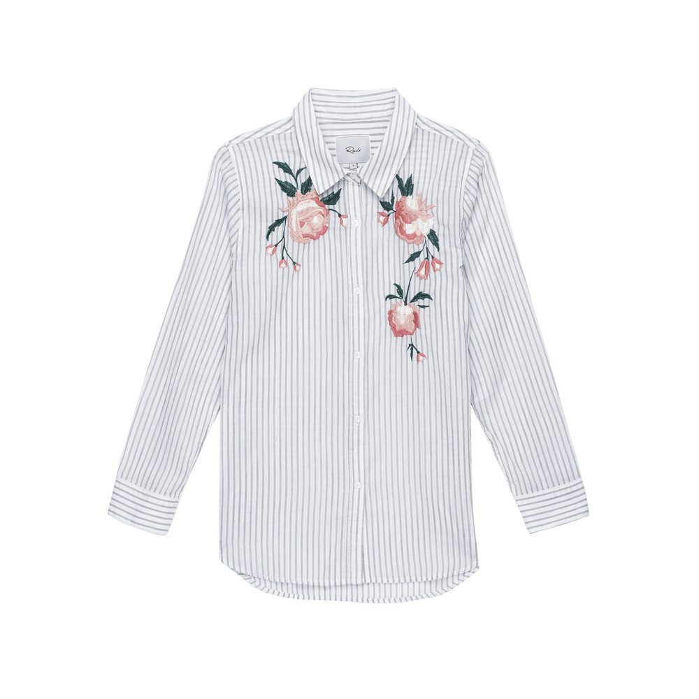 Nevin Floral Embroidery Shirt - Stripe