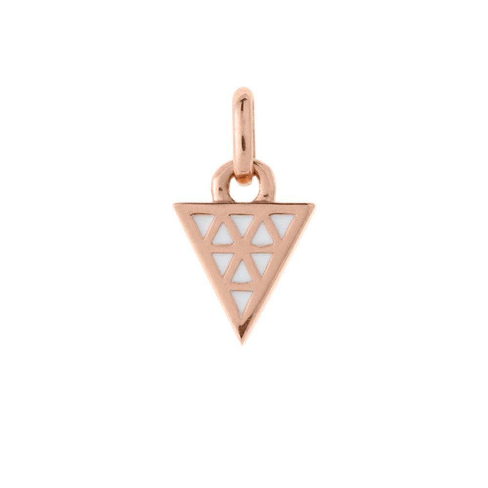 Bespoke Triangle White Enamel Charm - Rose Gold