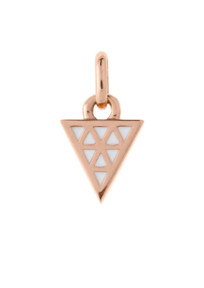 Bespoke Triangle White Enamel Charm - Rose Gold main image